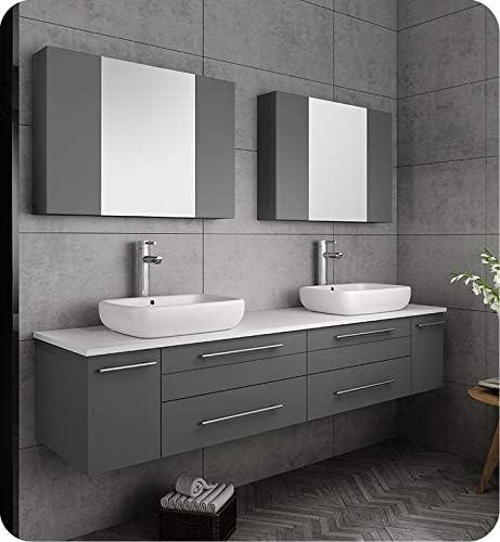 Fresca Lucera 72 Gray Wall Hung Double Vessel Sink Modern Bathroom Vanity W Medicine Cabinets Amazon Com