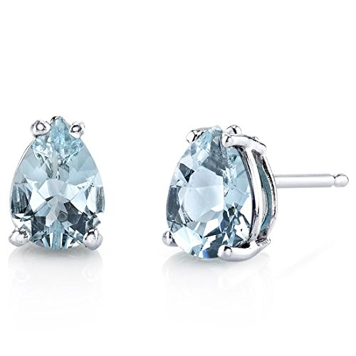 Aquamarine Pear Earrings - 14 Karat White Gold Pear Shape 1.00 Carats Aquamarine Stud Earrings