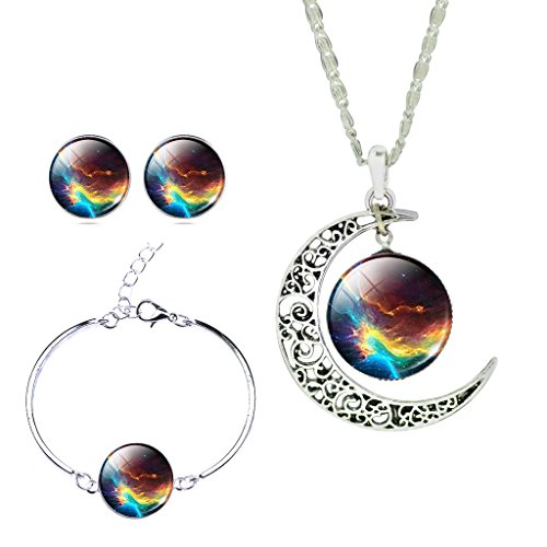 Women's Fantastic Twinkle Rainbow Galaxy Planet Earth Curve Moon Gem Necklace Bangle Earrings - Earth Rainbow