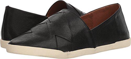 FRYE Women's Liz Woven Slip Black Glazed Goat Leather 8 B US Woven Leather Loafer Shoe