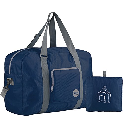 Wandf Foldable Travel Duffel Bag Luggage Sports Gym Water Resistant Nylon (Navy (Nylon Travel Bag)