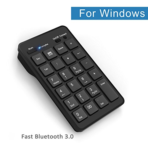 Bluetooth Wireless Keypad, Cateck Wireless 23 Keys Numeric keypad Bluetooth Numeric Keyboard for Windows Laptop Desktop Computer PC, Black