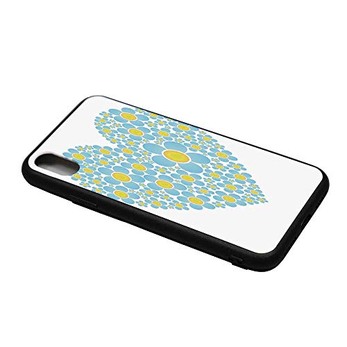 Yellow and Blue Printing Compatible with iPhone X Case,Heart Shape Full of Cute Daisy Flowers Romantic Valentines Wedding for iPhone X Case,iPhone X