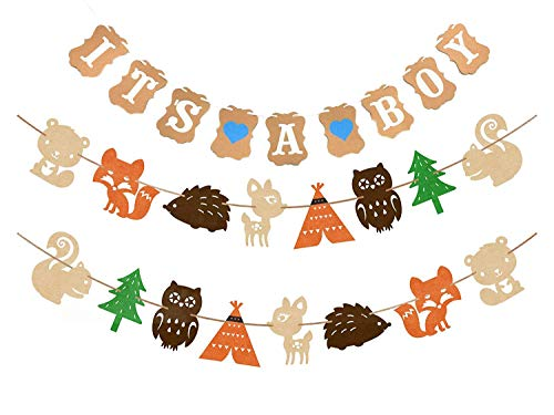 Woodland Creatures Banner & It's a Boy Banner Forest Animal Friends Party Supplies Banner Baby Shower Party Decorations Birthday Party Favors Photo Prop (2 set Animal Banners + It's a Boy Banner)]()