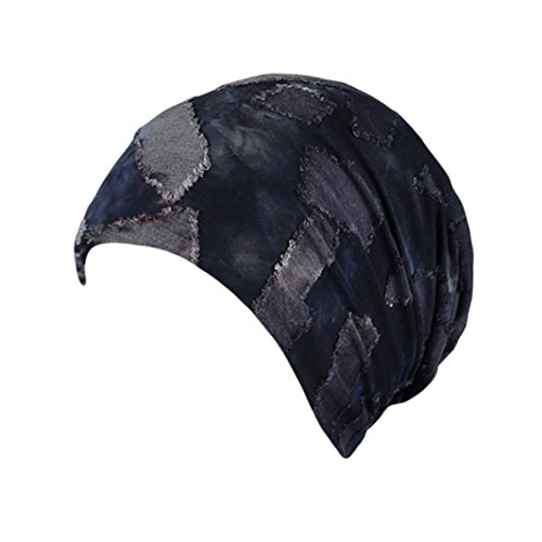 Women's Beggar Patch Beanie Hats Earflap Caps Chemo Cap Cancer Patients Headwear (Navy)