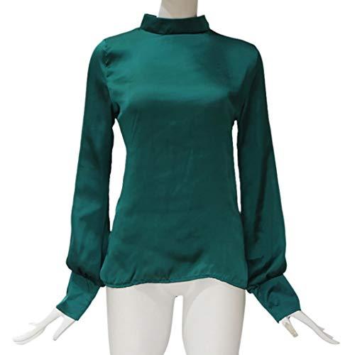 Magliette Solid shirt T Chiffon Donna A Verde Lanterna In Elecenty Da Camicetta Maniche Eleganti Ufficio Con wOIqxd5pf