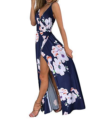 II ININ Women's Deep V-Neck Strap Casual Floral Print Maxi Split Dress(Floral01,XL) - Floral Maxi Dress
