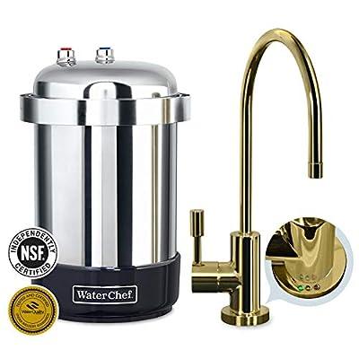 WaterChef U9000 Premium Under-Sink Water Filtration System with Intelligent Monitor (Polished Brass Designer Faucet)