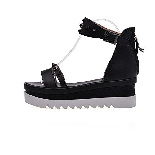 Zipper Toe Open Women's AllhqFashion Heels Kitten Solid Black Sandals qfTSwY