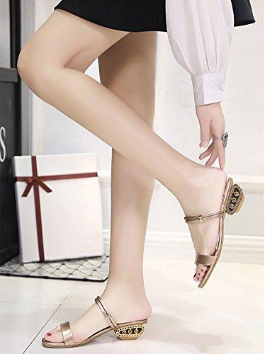 Minetom Mujer Verano Elegante Diamantes De Imitación Áspero Con Sandalias La Palabra Zapatillas Cabeza Pescado Zapatos champán
