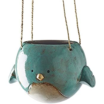 Amazon Com Bluebird Hanging Planter Pot Ceramic 7