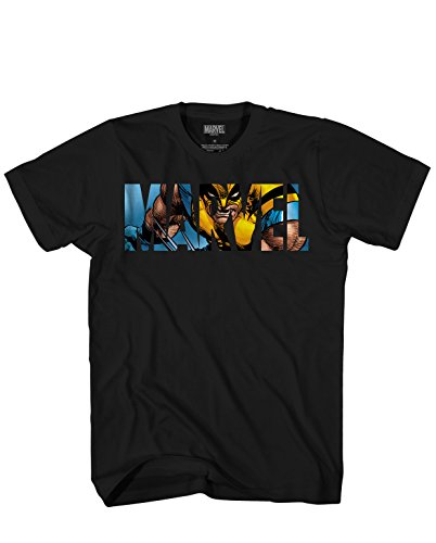 Adult X Men (Marvel Logo Wolverine Avengers X-Men Super Hero Adult Graphic Men's T-Shirt (Black,)