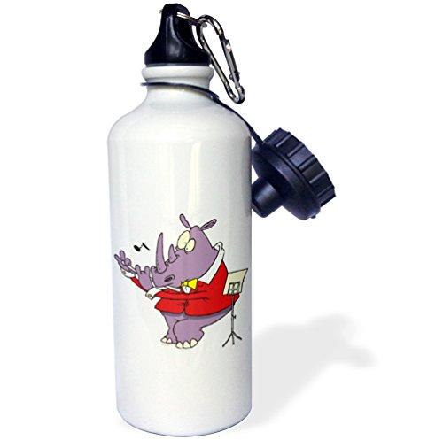3dRose Dooni Designs Random Toons - Silly Rhino Playing Flute Cartoon - 21 oz Sports Water Bottle - Flute Cartoon
