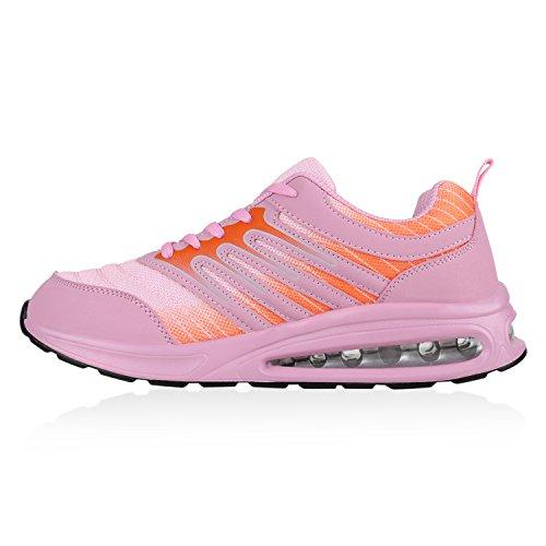 Stiefelparadies Damen Laufschuhe Sportschuhe Metallic Sneaker Low Glitzer Schuhe Profilsohle Lack Runners Trainers Neon Sneakers Turnschuhe Flandell Rosa