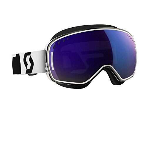 Scott LCG With Mask Men's Snocross Snowmobile Goggles Eyewear - White/Solar Blue Chrome / One Size