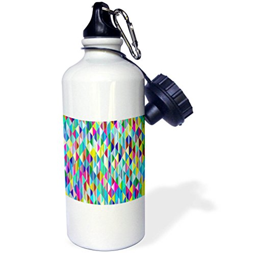 3dRose Abstract Patterns - Image of Multi Color Triangle Pattern - 21 oz Sports Water Bottle (wb_279924_1)