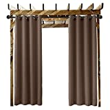 Extra Wide Outdoor Curtain Chocolate 150'' W x 84'' L Grommet Eyelet in Front Porch Pergola Cabana Covered Patio Gazebo Dock and Beach Home (1 Panel)