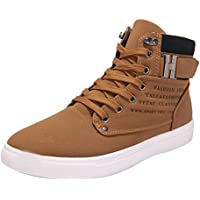 SUKEQ Fashion Mens Oxfords Casual High Top Shoes Breathable Canvas Sneakers