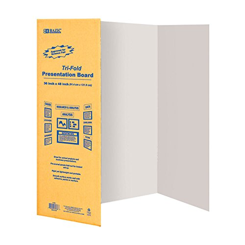 BAZIC 36'' X 48'' White Tri-Fold Corrugated Presentation Board (Case of 24) by Bazic