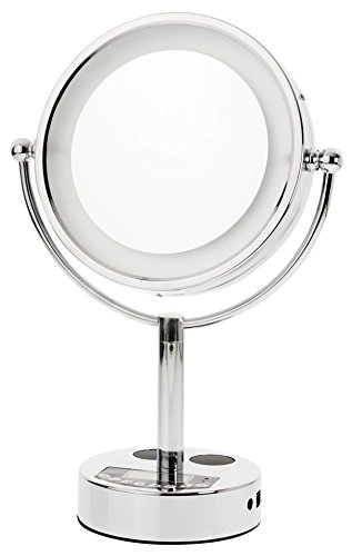 Lighted Vanity Mirror Chrome : Danielle Chrome LED Lighted 2-Side Swivel Vanity Make-Up Mirror with 10X Magnification ...