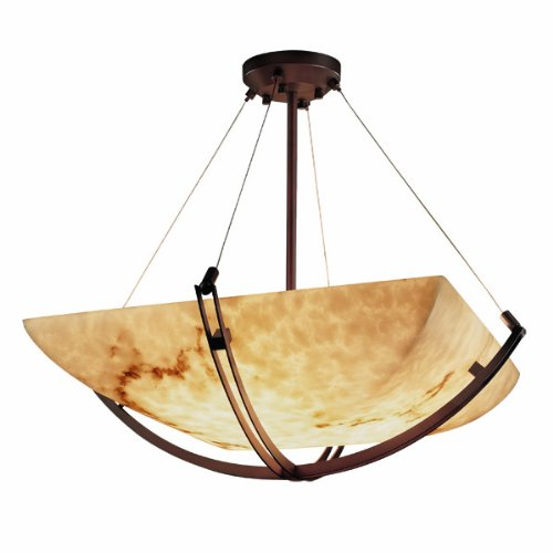 Justice Design Group LumenAria 6-Light Pendant - Matte Black Finish with Faux Alabaster Resin Shade