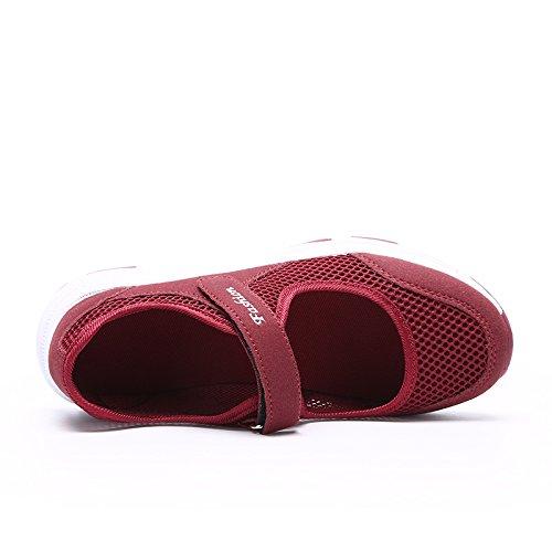 CARETOO Fitnessschuhe Mesh Atmungsaktive mit Hoch Sportschuhe Damen Outdoor Rot Rutschfeste Klettverschluss rEqrT