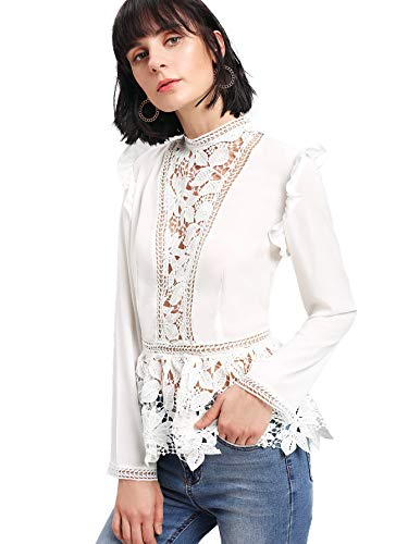 1e4fa2cbc01c5b Milumia Women's Floral Lace Long Sleeve Frilled Shoulder Top Blouse ...