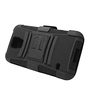 Amobile Hybrid Protective Skin Case Cover with Stand and Belt Clip Holster for Samsung Galaxy S5 - Retail Packaging - Black/Black