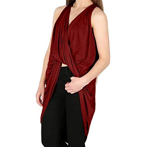 Uscharm Off Shoulder Blouse Short Sleeve Tops Womens Drape Tee V-Neck Wrap Cross Shirts Fold Twisted T-Shirt (Wine, XXL)