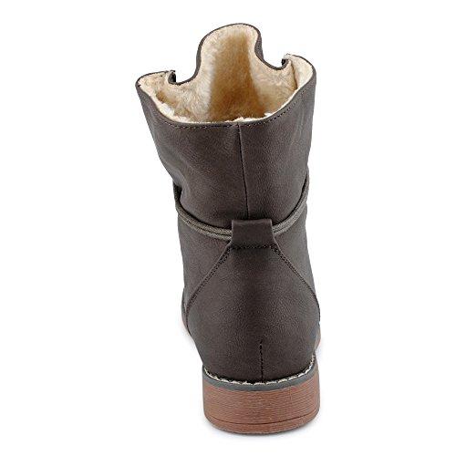FiveSix Damen Stiefeletten Stiefel Blockabsatz Schnür Biker Boots Freizeit Schuhe Taup/gefüttert