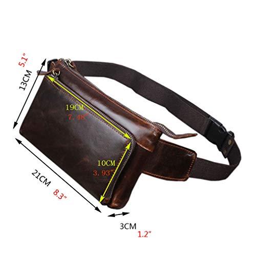 a6b2285dc88c Hebetag Vintage Leather Fanny Pack Waist Bag for Men Women Travel Hiking  Running Hip Bum Belt