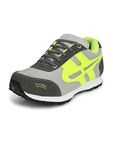 SIR CORBETT Men's Synthetic Grey(neon) Running Sports Shoes(Big UK11-UK15)