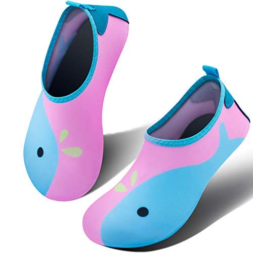 SIMARI Toddler Water Shoes Boy Girl Baby Barefoot Aqua Socks Shoes for Beach Pool Surfing 399 Blue Pink 3.5-4