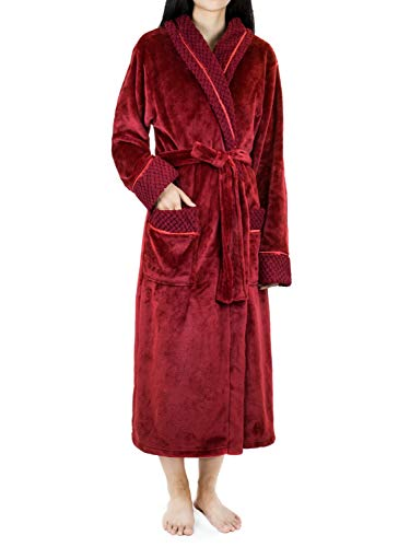 (Deluxe Women Fleece Robe with Satin Trim | Luxurious Plush Spa Bathrobe Waffle Design Wine )