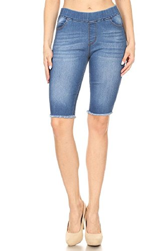 Jvini Women's High Waisted Stretchy Pull-On Skinny Denim Bermuda Shorts (Large, ()