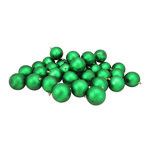 Northlight 32 Count Matte Xmas Shatterproof Christmas Ball Ornaments, 3.25