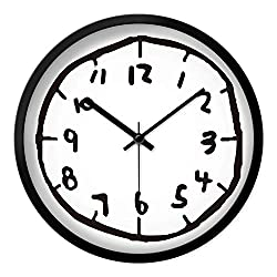 Kids Wall Clock Digital Wall Clocks Mute Bedroom Graffiti for Living Room Watch,Black,12 Inch