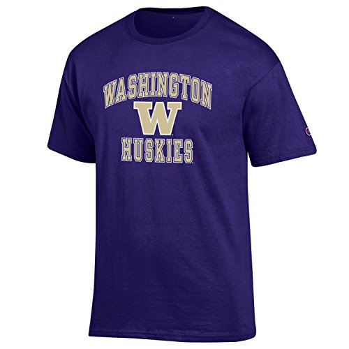 Champion NCAA Men's Shirt Short Sleeve Officially Licensed Team Color Tee, Washington Huskies, ()