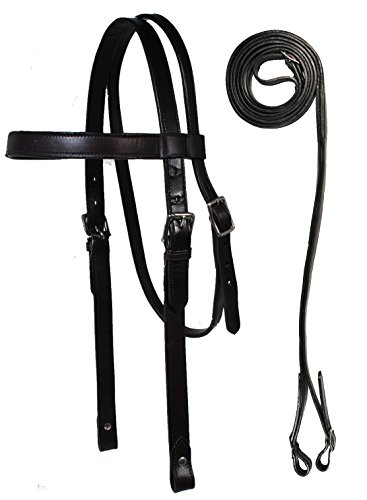 Paris Tack Heavy Duty Leather Draft Horse Bridle with Reins - Black