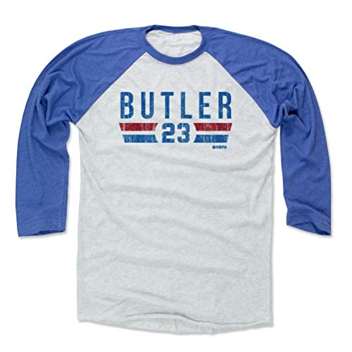 500 LEVEL Jimmy Butler Baseball Tee Shirt (X-Large, Royal/Ash) - Philadelphia Basketball Raglan Tee - Jimmy Butler Philadelphia Font B Ash 02 Ash Bucket