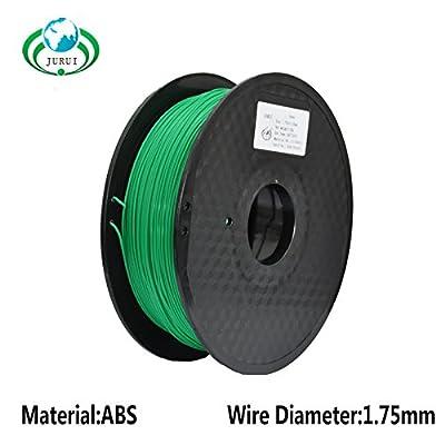 JURUI 3D Printing Filament PLA-1kg 1.75-GRN PLA 3d printer filament, Dimensional Accuracy +/- 0.05 mm, 1 kg Spool(2.2 lbs), 1.75mm, Green