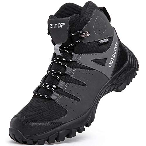 Mens Hiking Boots Breathable Lightweight Trekking Backpacking Mountaineering Boots High-Traction Grip Outdoors Hiker Boot for Men Black
