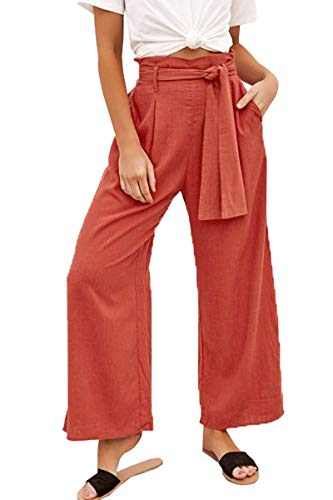 Belypoe Plus Size Womens Self Tie High Waisted Wide Leg Leisure Pants Orange XL