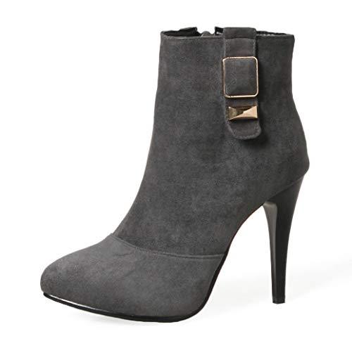 Zehen Elegant High Damen Absatz Ankel Top Pgennig Grau Spitz Boots Aisun 75Itqpw7