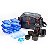 ThinkFit Insulated Meal Prep Lunch Box with 6 Food Portion Control Containers - BPA-Free, Reusable, Microwavable, Freezer Safe - With Shaker Cup, Pill Organizer, Shoulder Strap & Storage Pocket (Red)