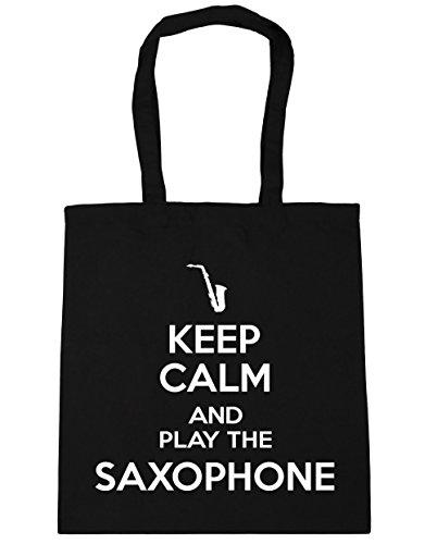 the Bag Shopping Keep Calm Play 42cm HippoWarehouse Saxophone Gym Tote litres Black 10 x38cm and Beach aWvI0vnxq