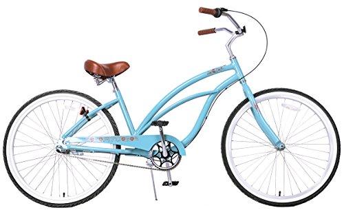 Fito Women's Marina 2.0 Aluminum Alloy 3 Speed Beach Cruiser Bike, Blue, 15.5