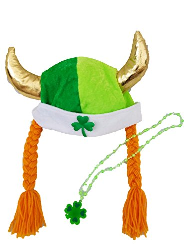 [St. Patricks Day Accessory Outfit - Viking Hat and Light Up Shamrock Necklace] (Viking Outfits For Adults)
