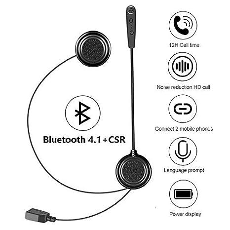 EJEAS Auriculares Intercomunicador Bluetooth para Casco de Motocicleta Moto Intercom Headset E1 Motocicleta Inalambricos Headset Intercom Bluetooth 4.1 ...