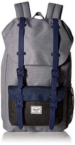 Herschel Kids' Little America Youth Children's Backpack, Mid Grey Medieval Blue Black Crosshatch, One Size
